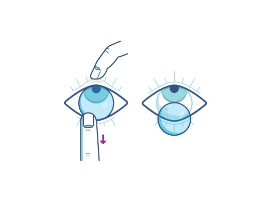 Retira tus lentes de contacto usando tu dedo índice en el borde inferior del lente