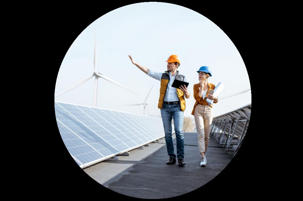 energía verde, energía limpia, molinos de viento y paneles solares para reducir las emisiones de carbono